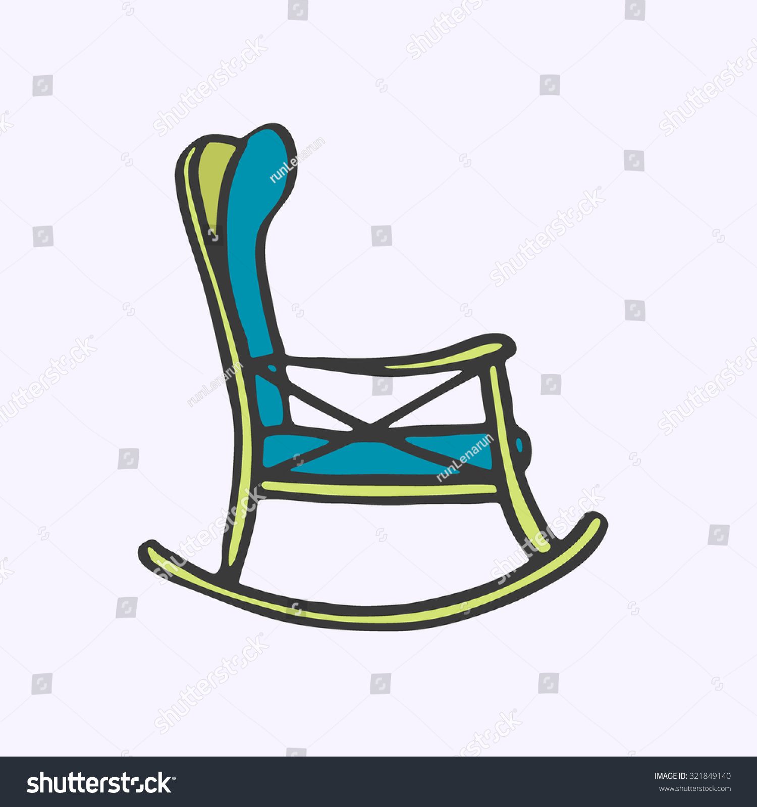 swing chair drawing wheelchair handles rocker handdrawn cartoon rest stock vector