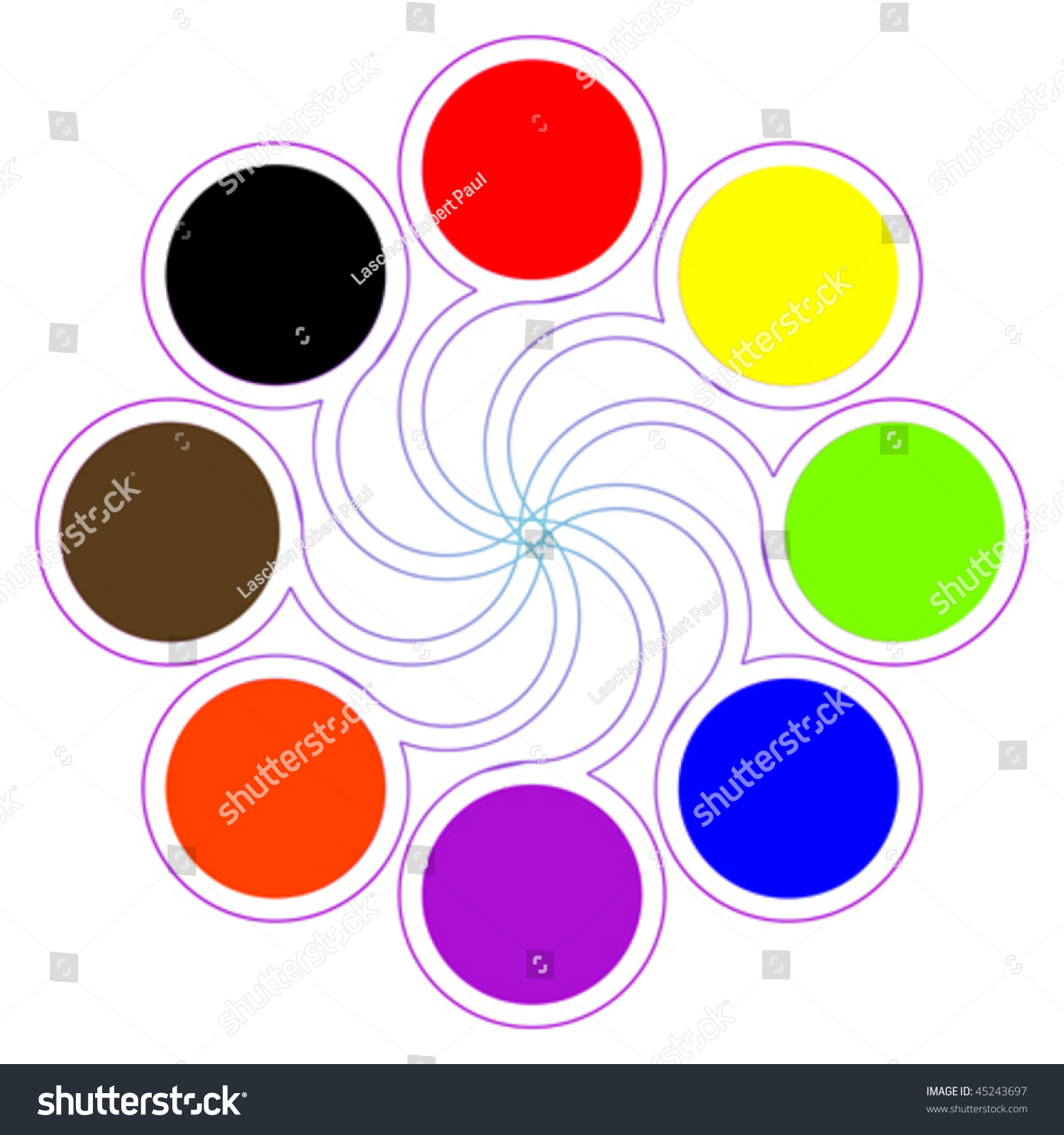 Round Color Palette With Eight Basic Colors Isolated On