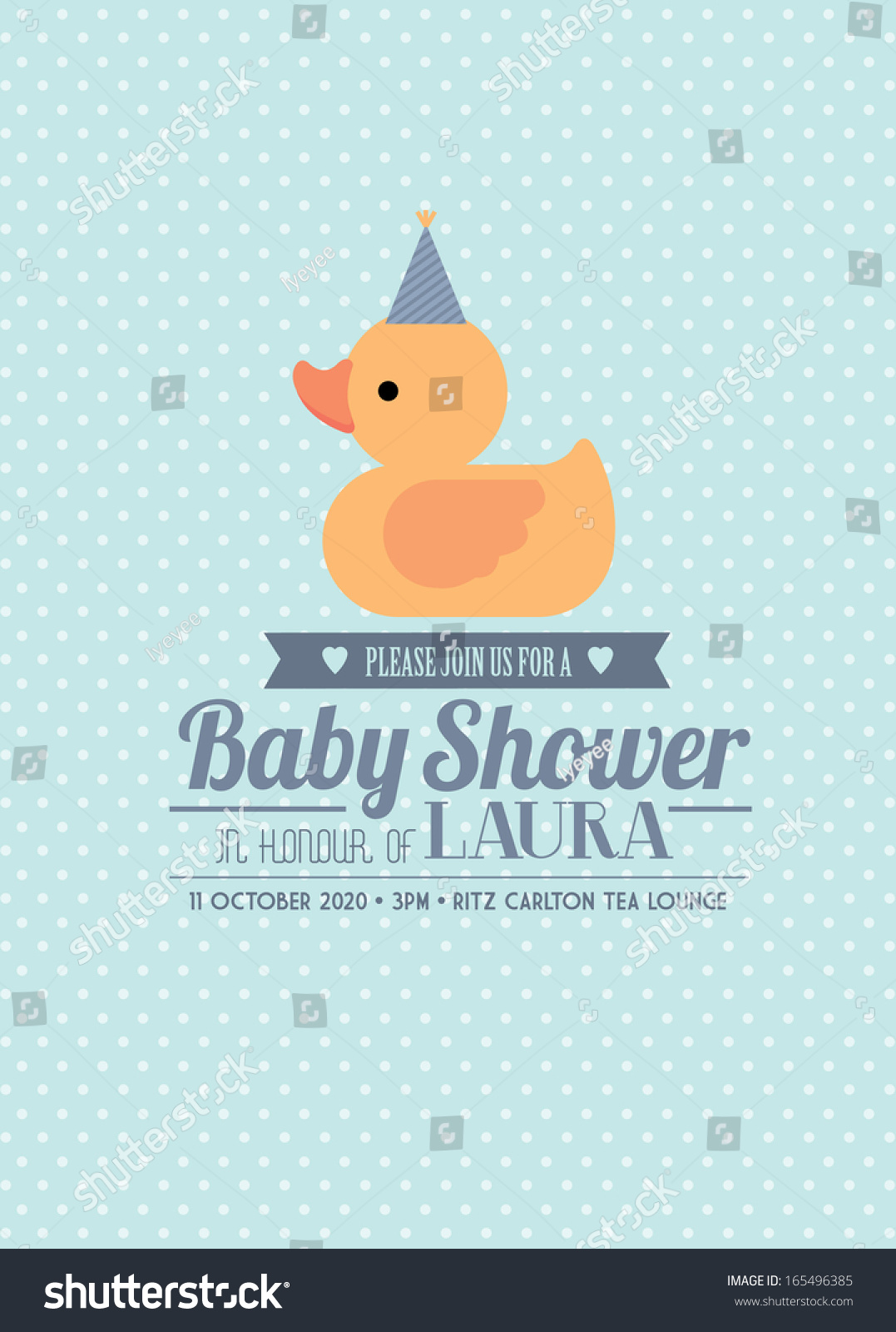 Rubber Ducky Baby Shower Invitation Card Template Boy Vector/Illustration - 165496385 : Shutterstock