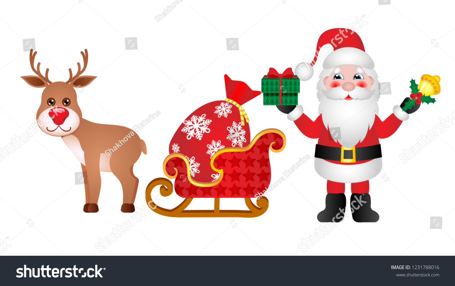 hight resolution of rudolph the red nosed reindeer and santa claus clipart for your design