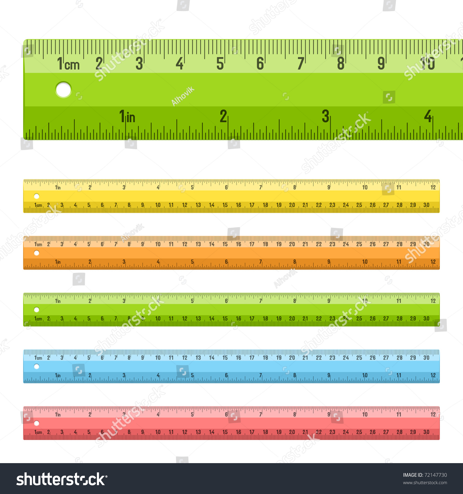 Rulers Centimeters Inches Vector Stock Vector
