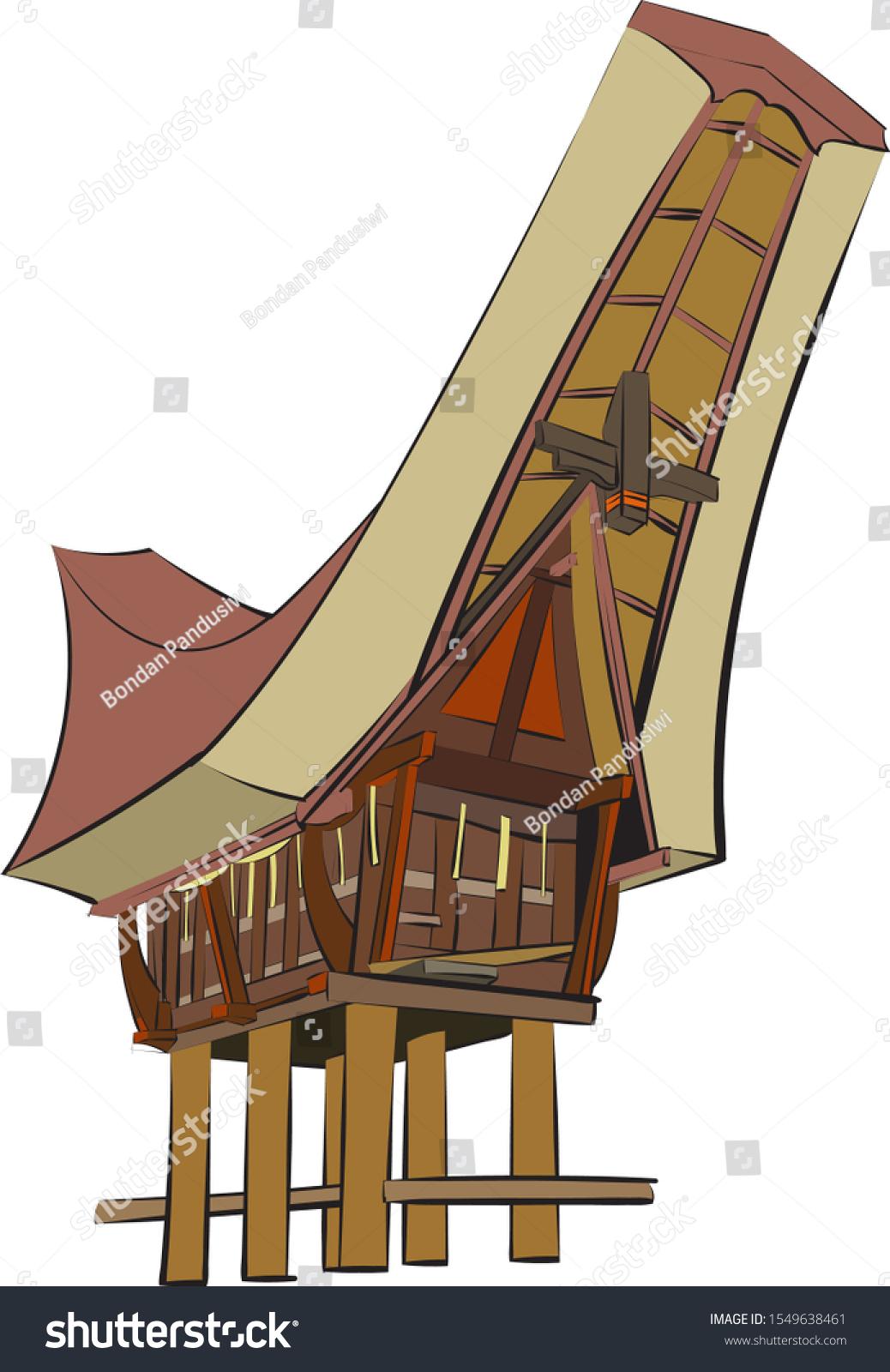 Rumah Adat Vector : rumah, vector, Rumah, Panggung, Toraja, Indonesia, Stock, Vector, (Royalty, Free), 1549638461