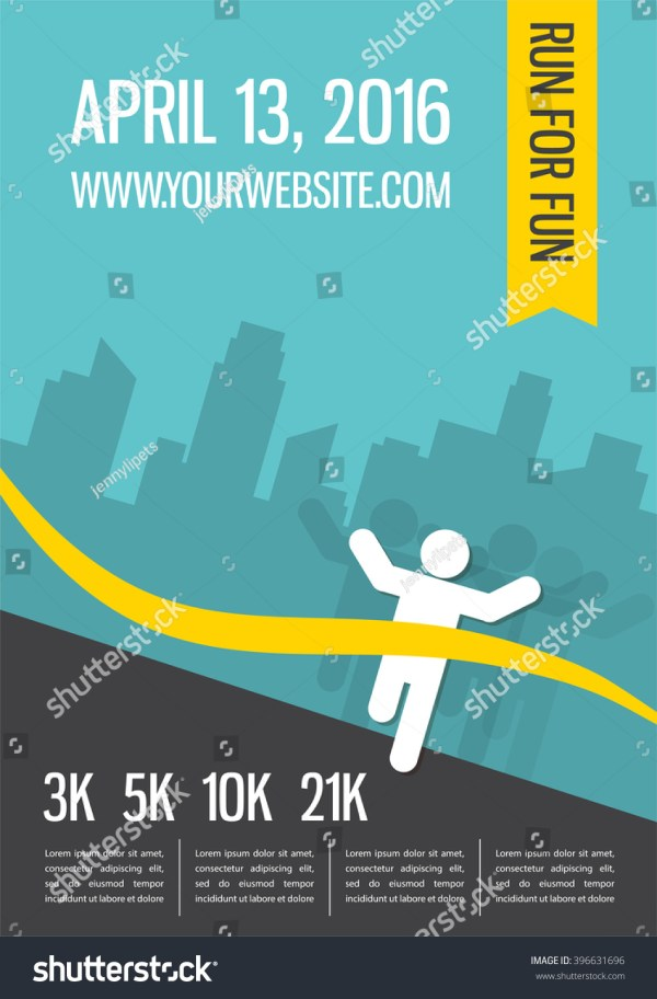 Running Marathon People Run Colorful Poster Stock Vector