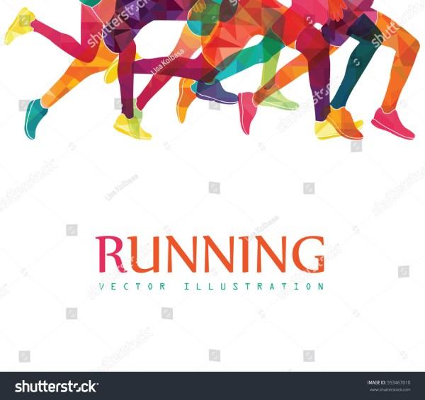 People Running Marathon Clip Art