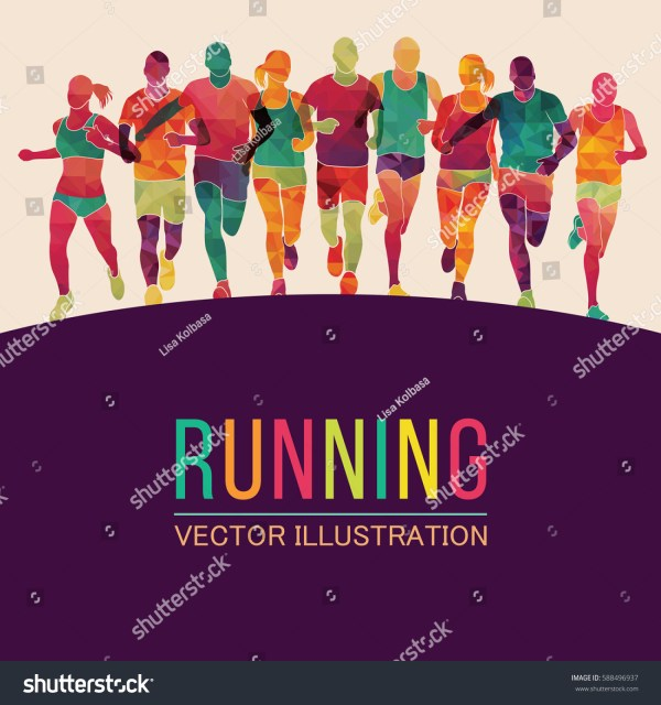 Colorful People Running