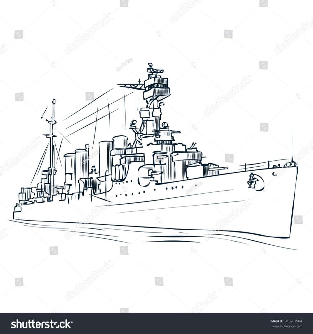 medium resolution of russian warship since the world war 2 hand drawn vector illustration