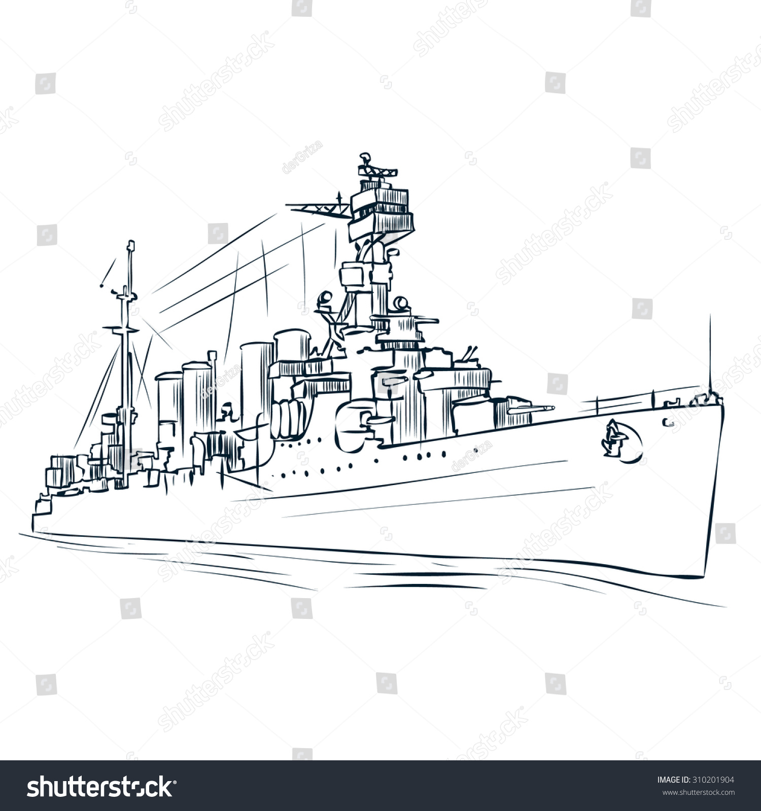 hight resolution of russian warship since the world war 2 hand drawn vector illustration