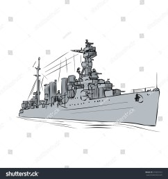 russian warship since the world war 2 hand drawn vector illustration  [ 1500 x 1600 Pixel ]