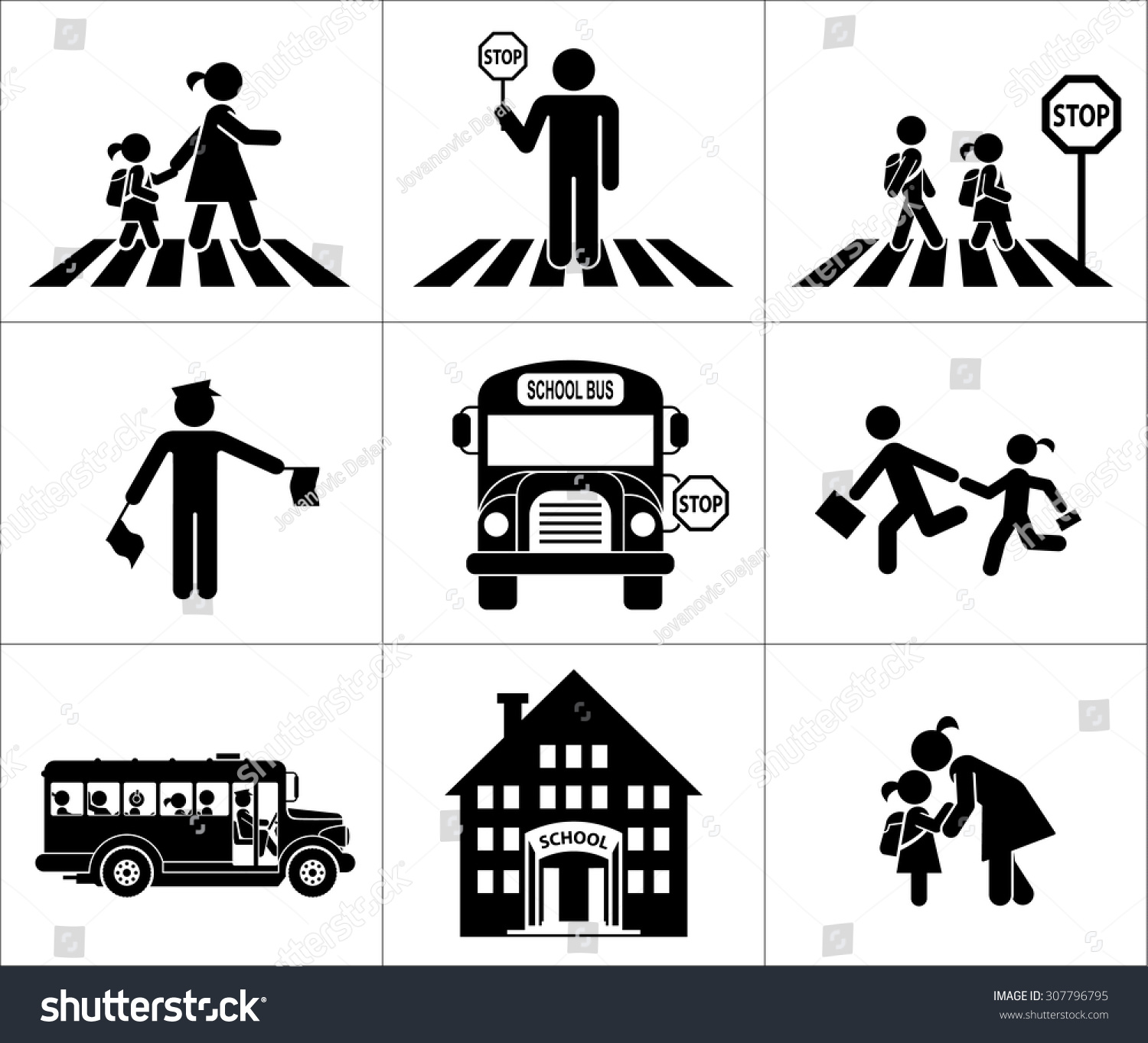 Safety Children Traffic Children Go School Stock Vector