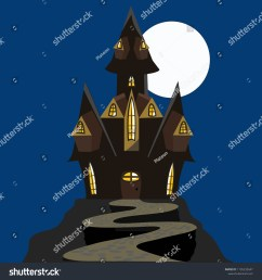 scary halloween house haunted house black and brown isolated house with a moon vector clipart clip [ 1500 x 1600 Pixel ]