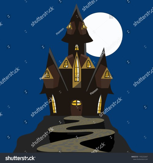 small resolution of scary halloween house haunted house black and brown isolated house with a moon vector clipart clip
