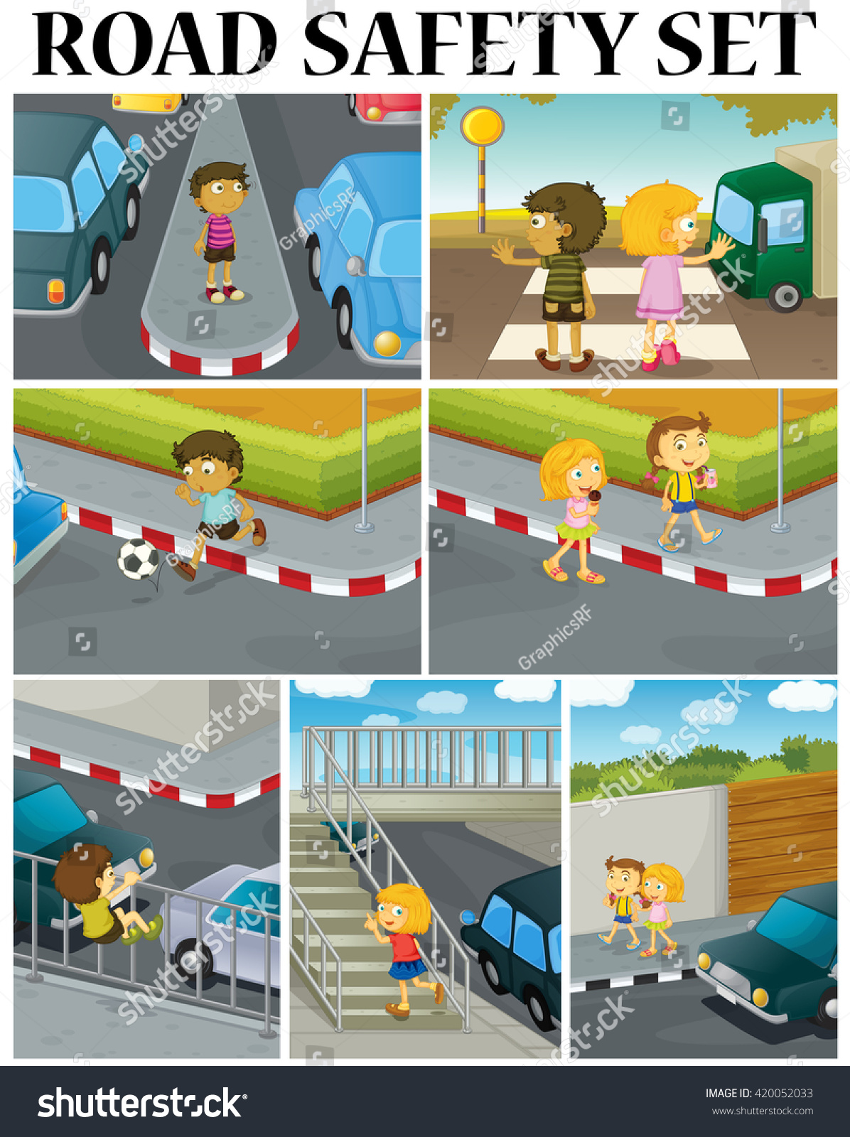 Scenes Children Road Safety Illustration Stock Vector