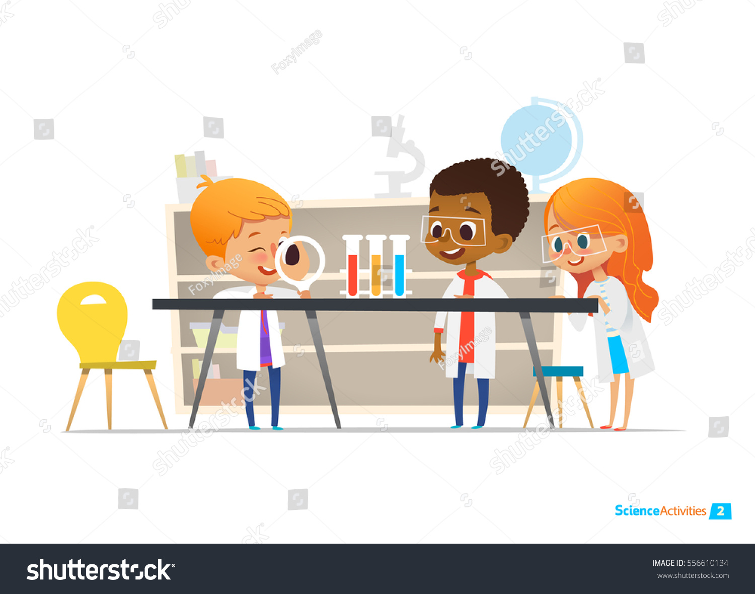 School Children Lab Clothing Safety Glasses Stock Vector