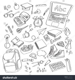 school clipart vector doodle school icons symbols back to school background sketch drawing hand white  [ 1500 x 1600 Pixel ]