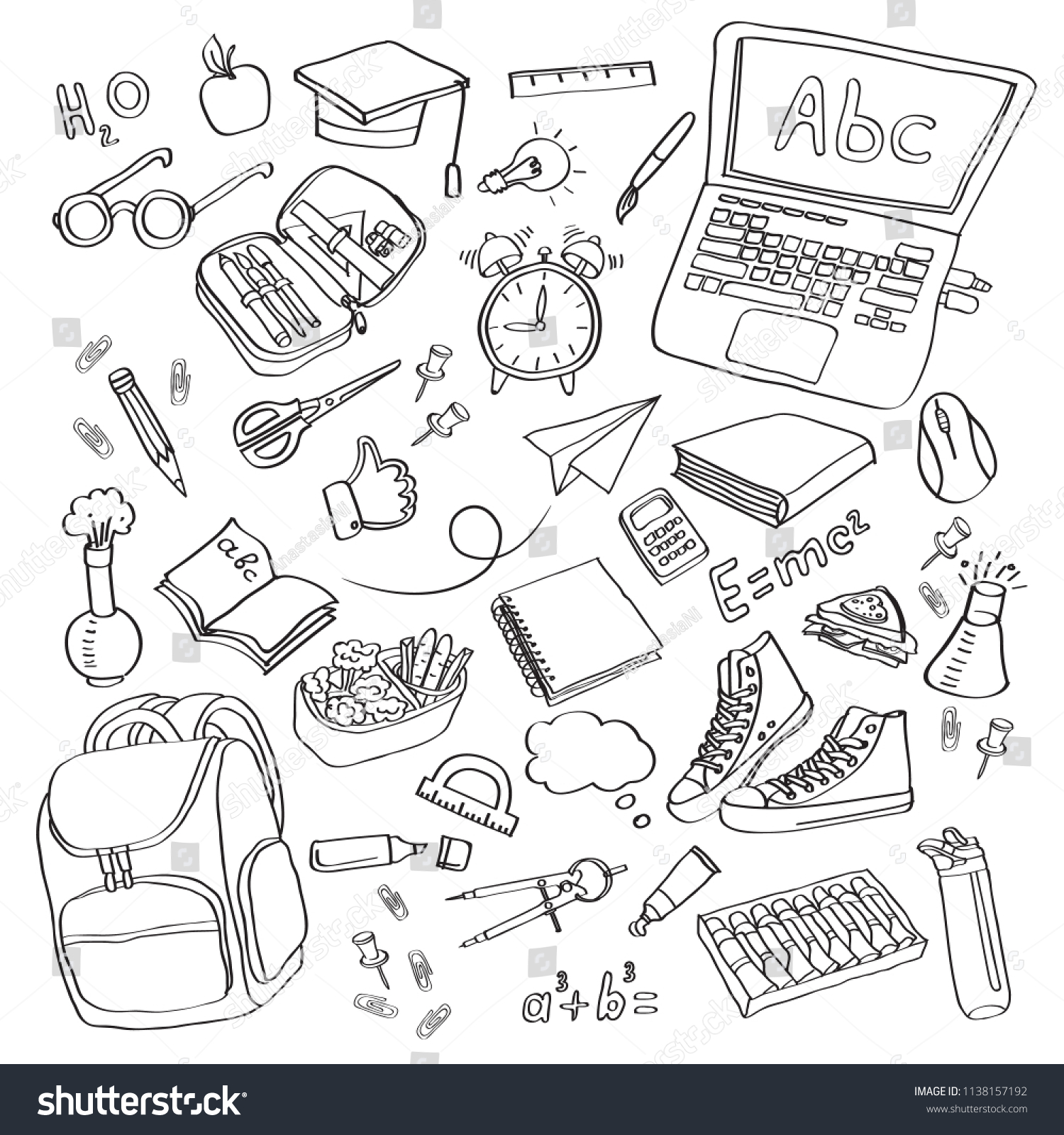 hight resolution of school clipart vector doodle school icons symbols back to school background sketch drawing hand white