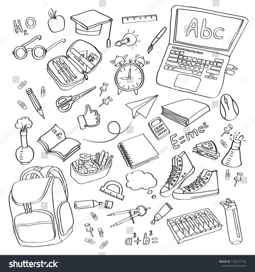 small resolution of school clipart vector doodle school icons symbols back to school background sketch drawing hand white