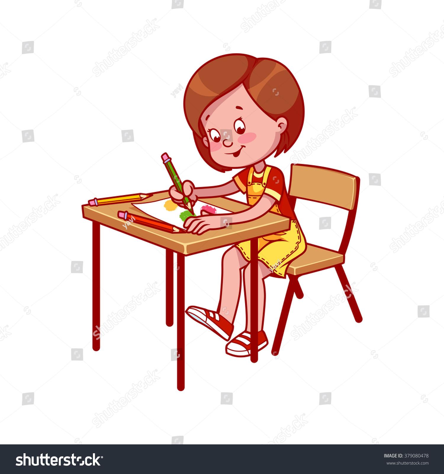 School Girl School Desk Drawing Crayons Stock Vector