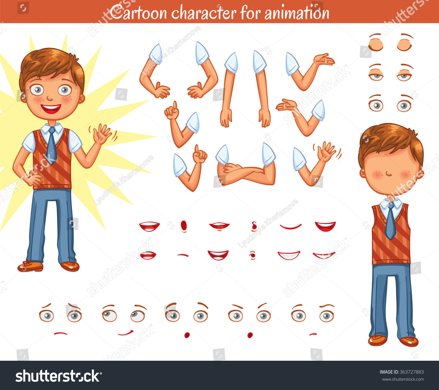Schoolboy Parts Of Body Template For Design Work And