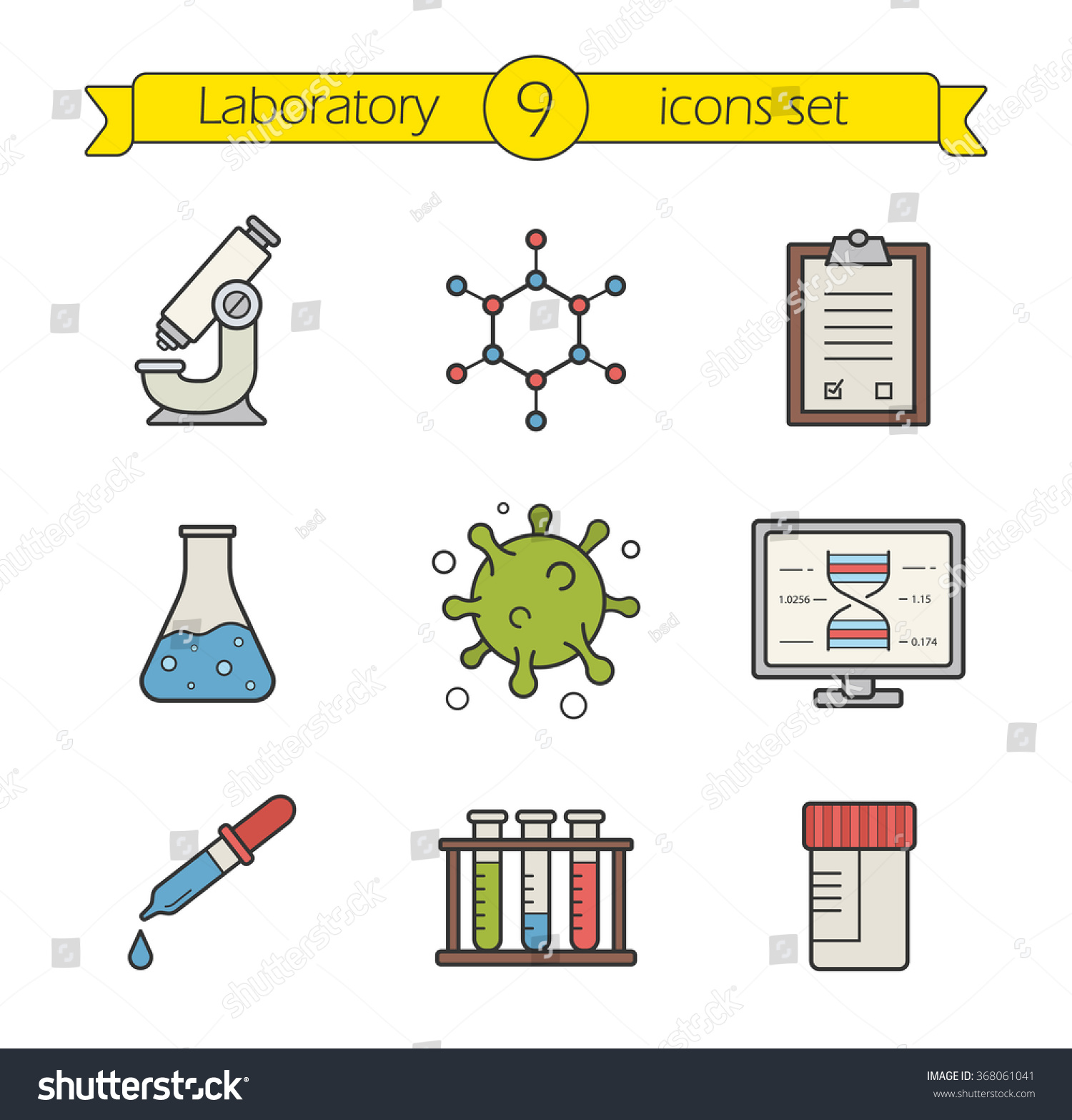 Science Laboratory Tools Color Icons Set Stock Vector