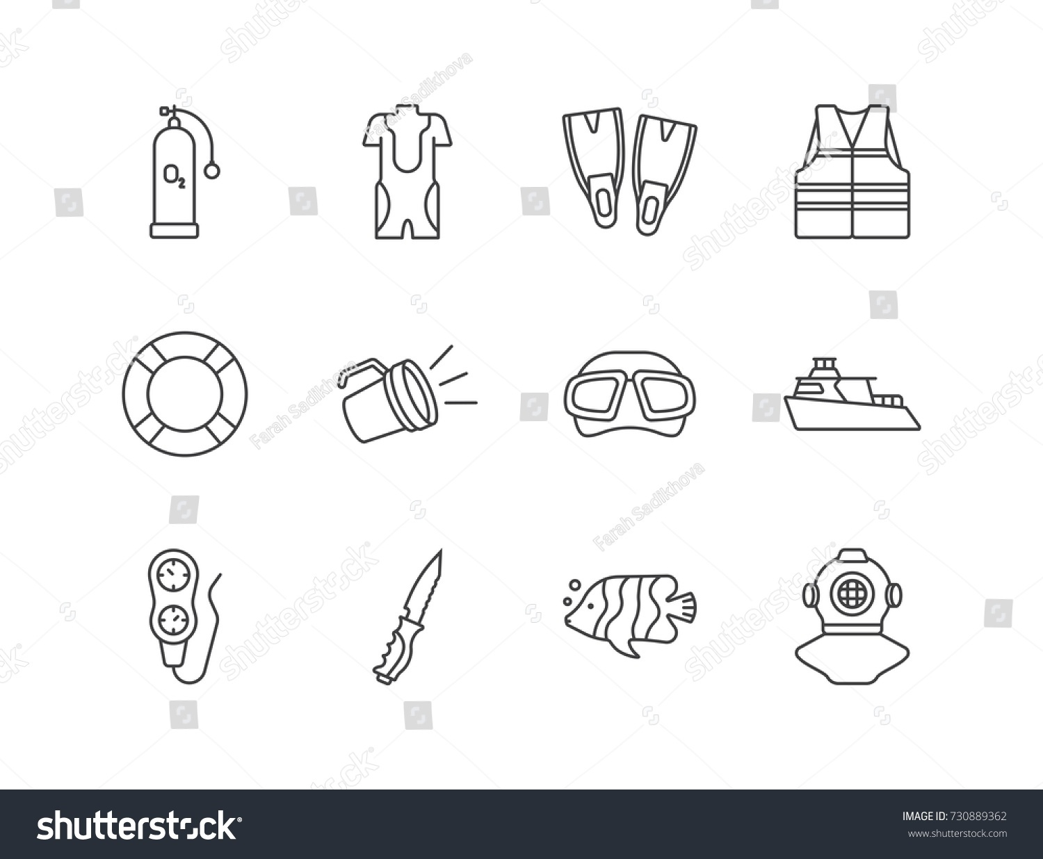 scuba gear diagram g35 window motor wiring diving equipment line icons stock vector royalty free set with air tank diver suit flippers