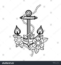 Sea Anchor Flowers Rope Old School Stock Vector 511789960 ...