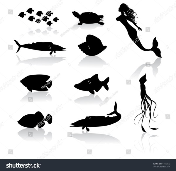 Sea Creature Icon Symbol Set Eps Stock Vector 94785910