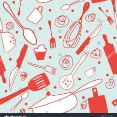 Kitchen Wallpaper Patterns Seamless Cook Background Retro