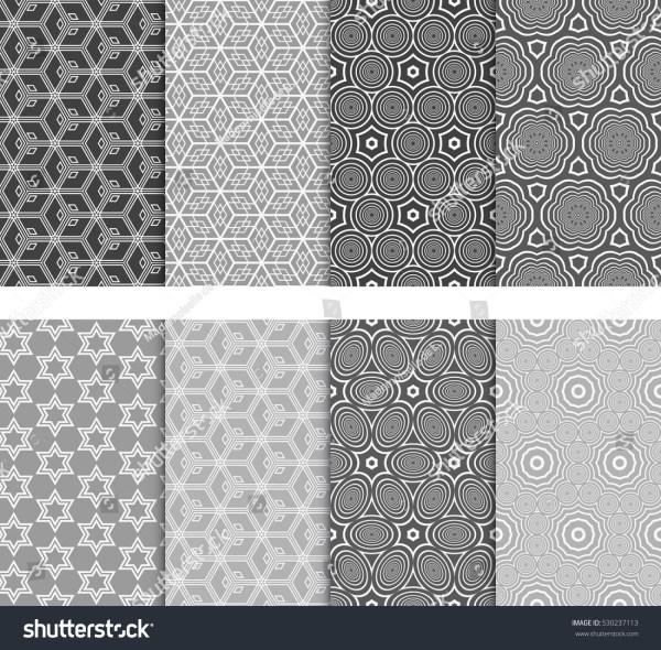 Seamless Decorative Modern Geometric Patterns Set Stock ...