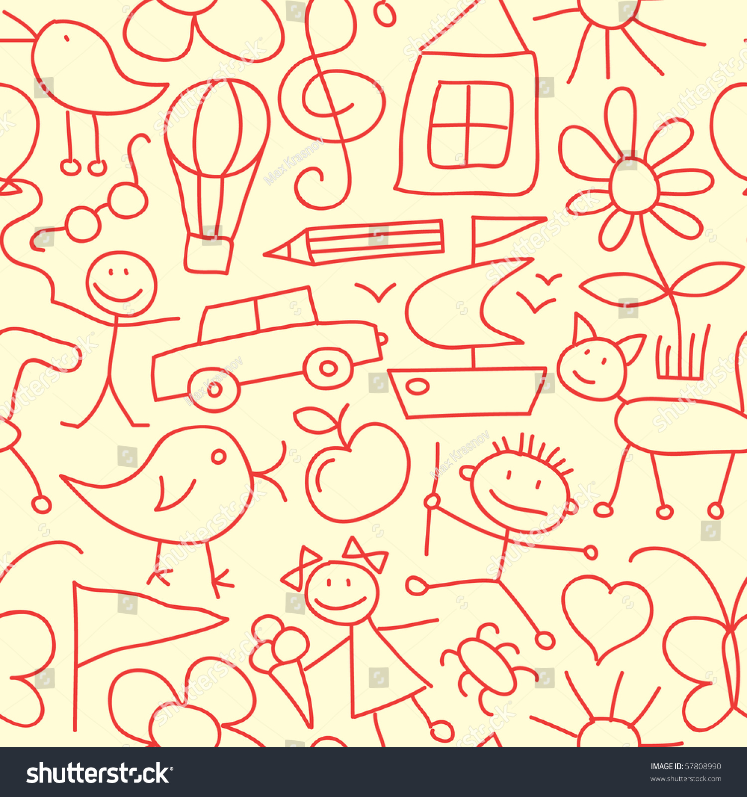 Seamless Kid Pattern Stock Vector