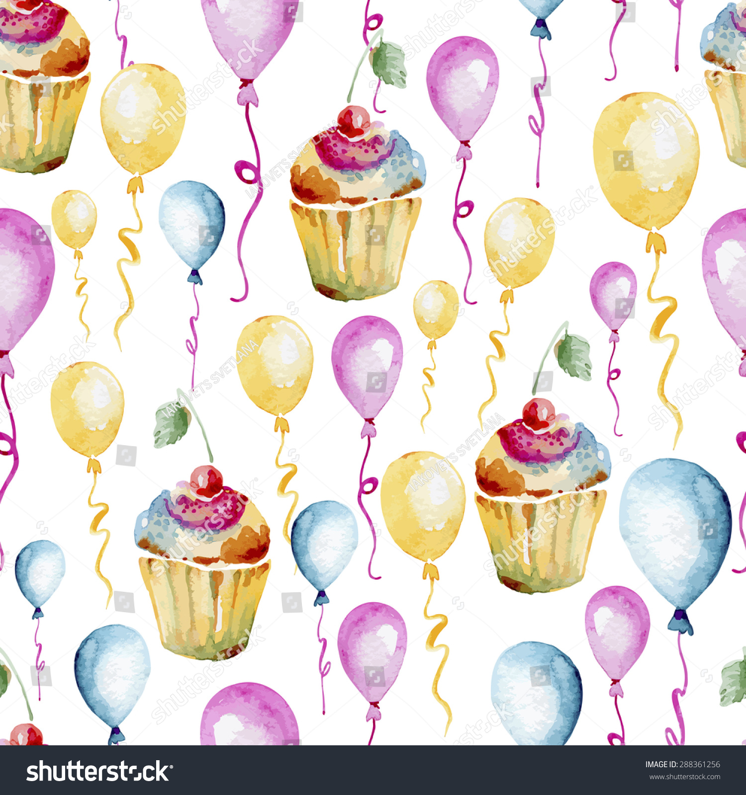 Seamless Pattern Consisting Of Colorful Cupcakes With A
