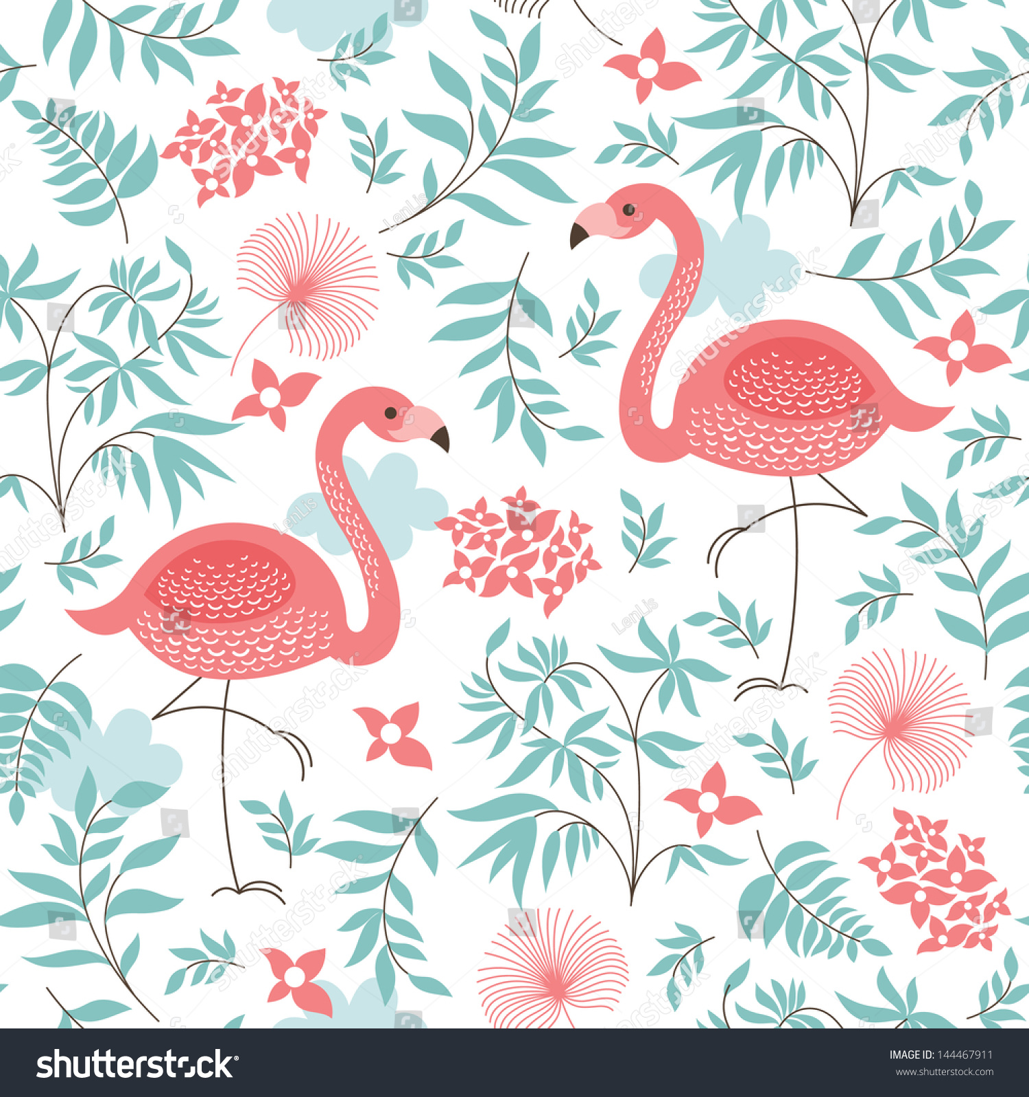 Seamless Pattern Pink Flamingo Stock Vector 144467911 Shutterstock