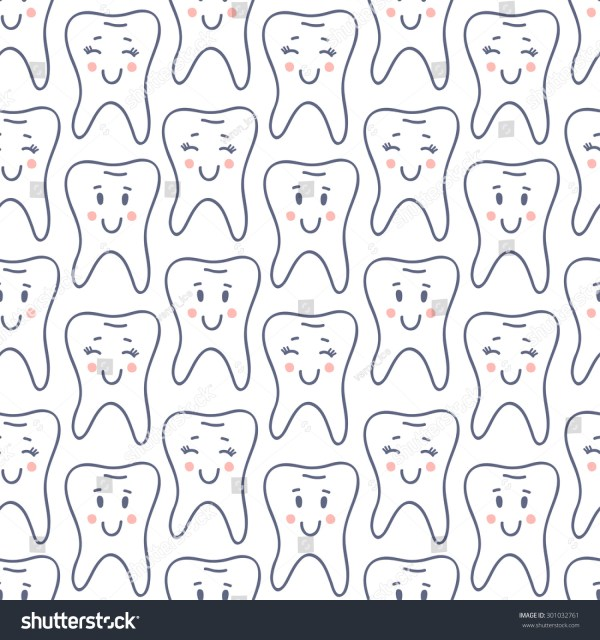 Seamless Pattern Cute Cartoon Happy Teeth Stock Vektor