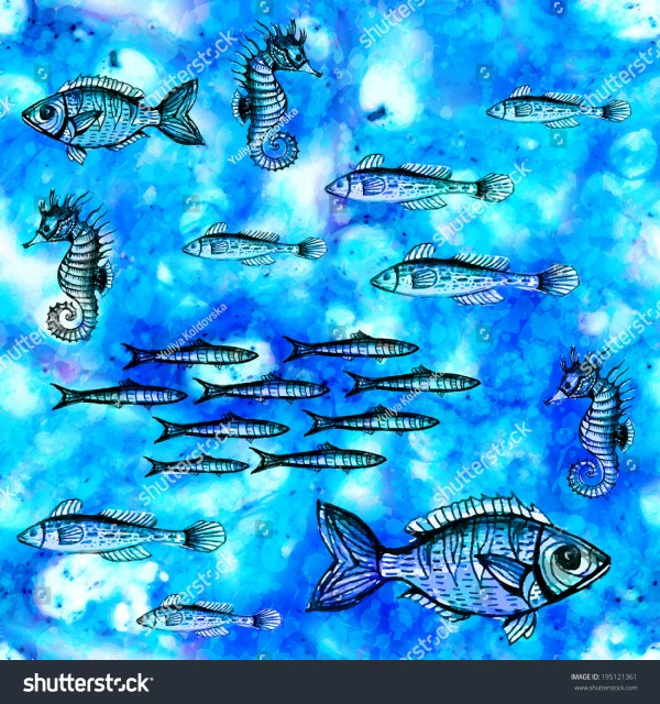 Seamless Pattern With Fish Swimming In Sea. Vector