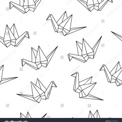 Simple Origami Flying Crane Diagram Infrastructure Visio Seamless Pattern Cranes Paper Stock Vector