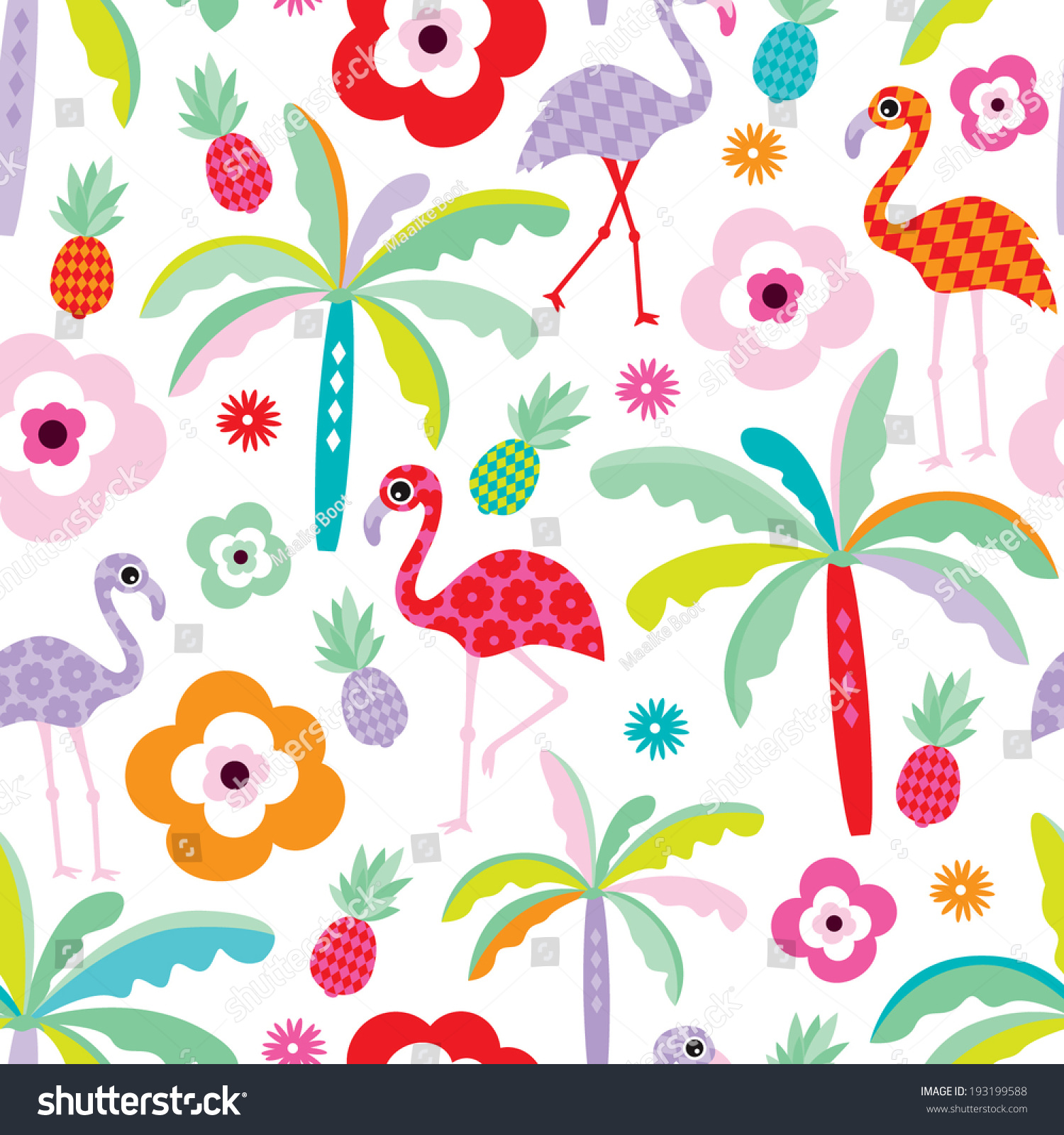 Seamless Tropical Flamingo Palm Tree Beach Stock Vector 193199588 Shutterstock