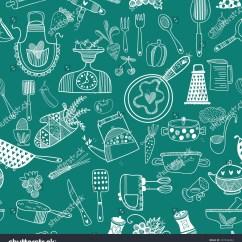 Kitchen Wallpaper Patterns Commercial Island Seamless Vector Pattern Kitchenfood Background Cartoon