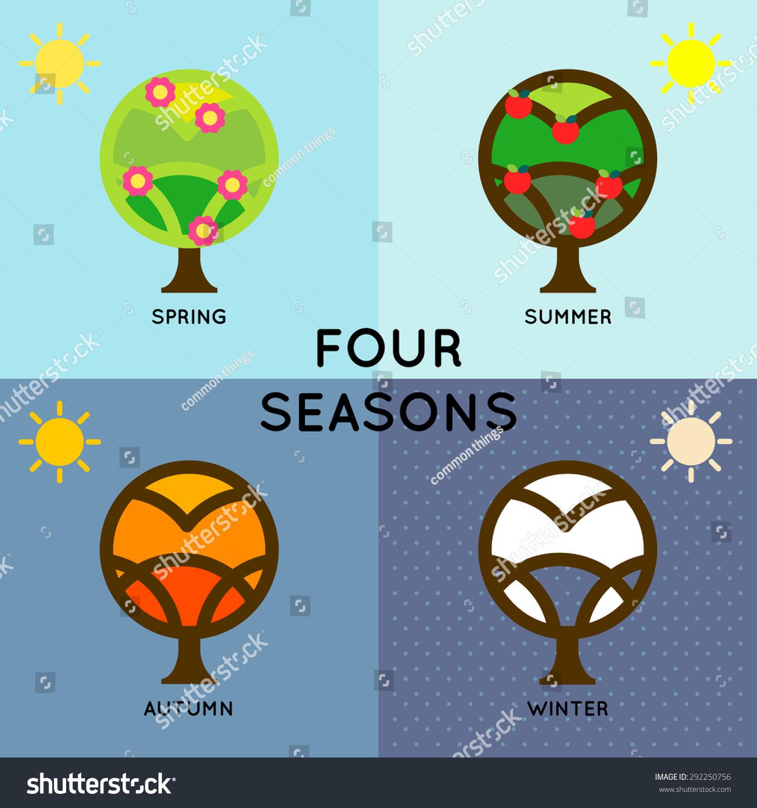 Season Change Depict Four Seasons Change During Stock