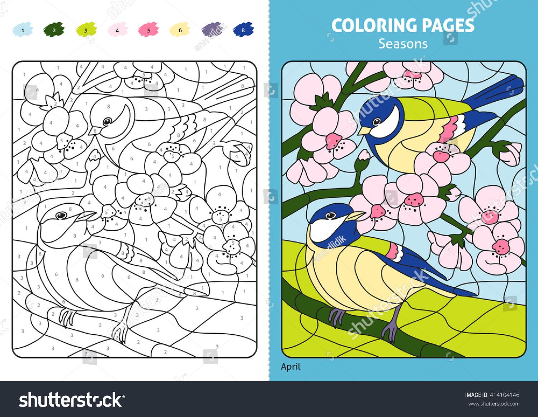 Seasons Coloring Page Kids April Monthprintable Stock