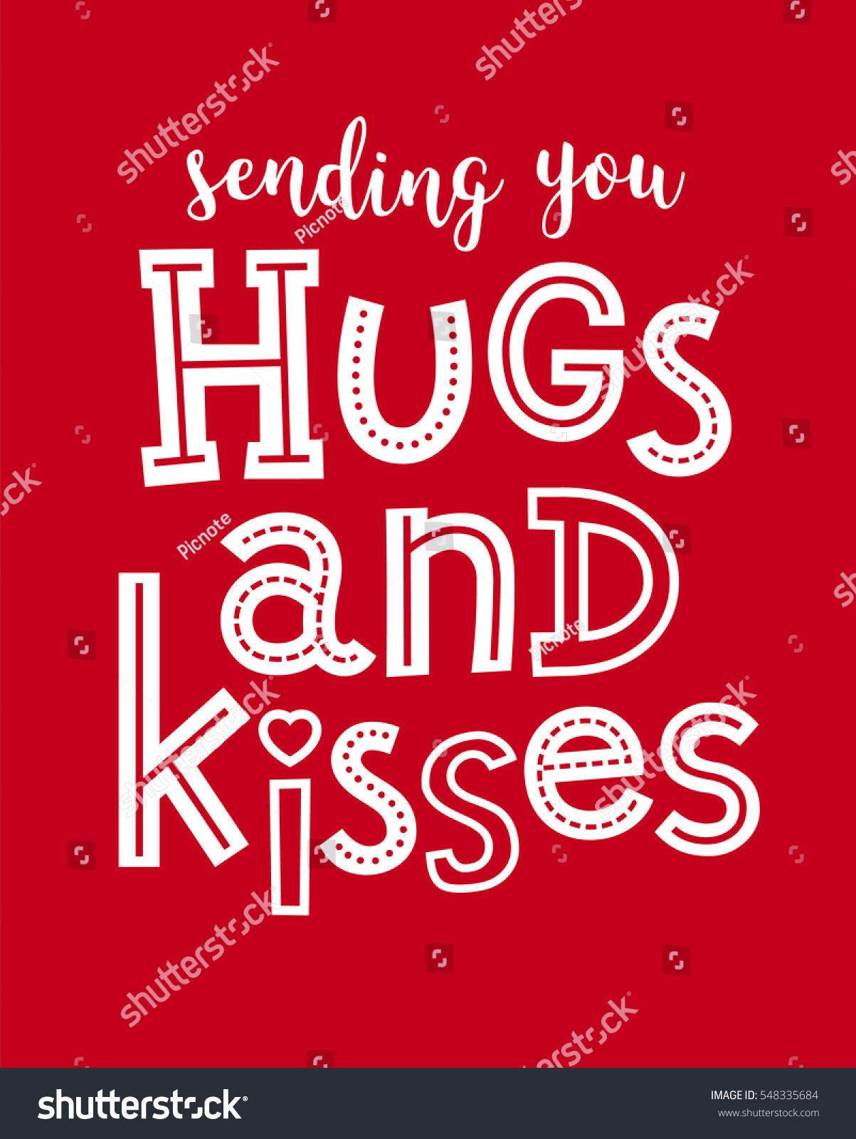 Hugs And Kisses For You : kisses, Sending, Typography, Illustration, Stock, Vector, (Royalty, Free), 548335684