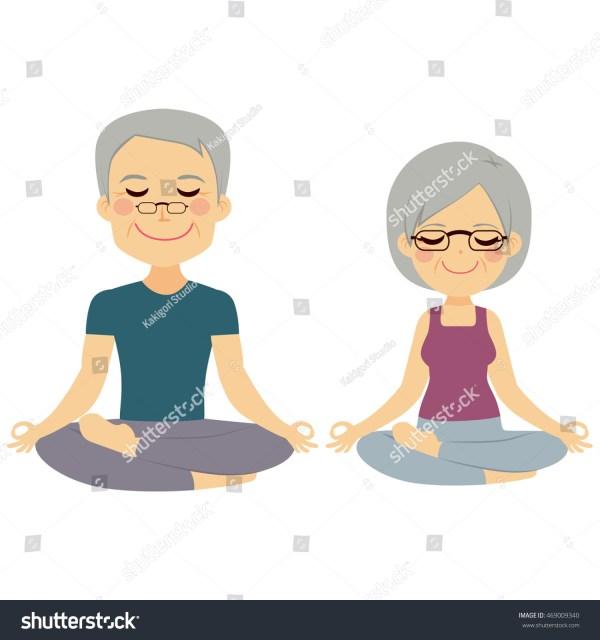 Senior Couple Yoga Exercises Training Stock Vector