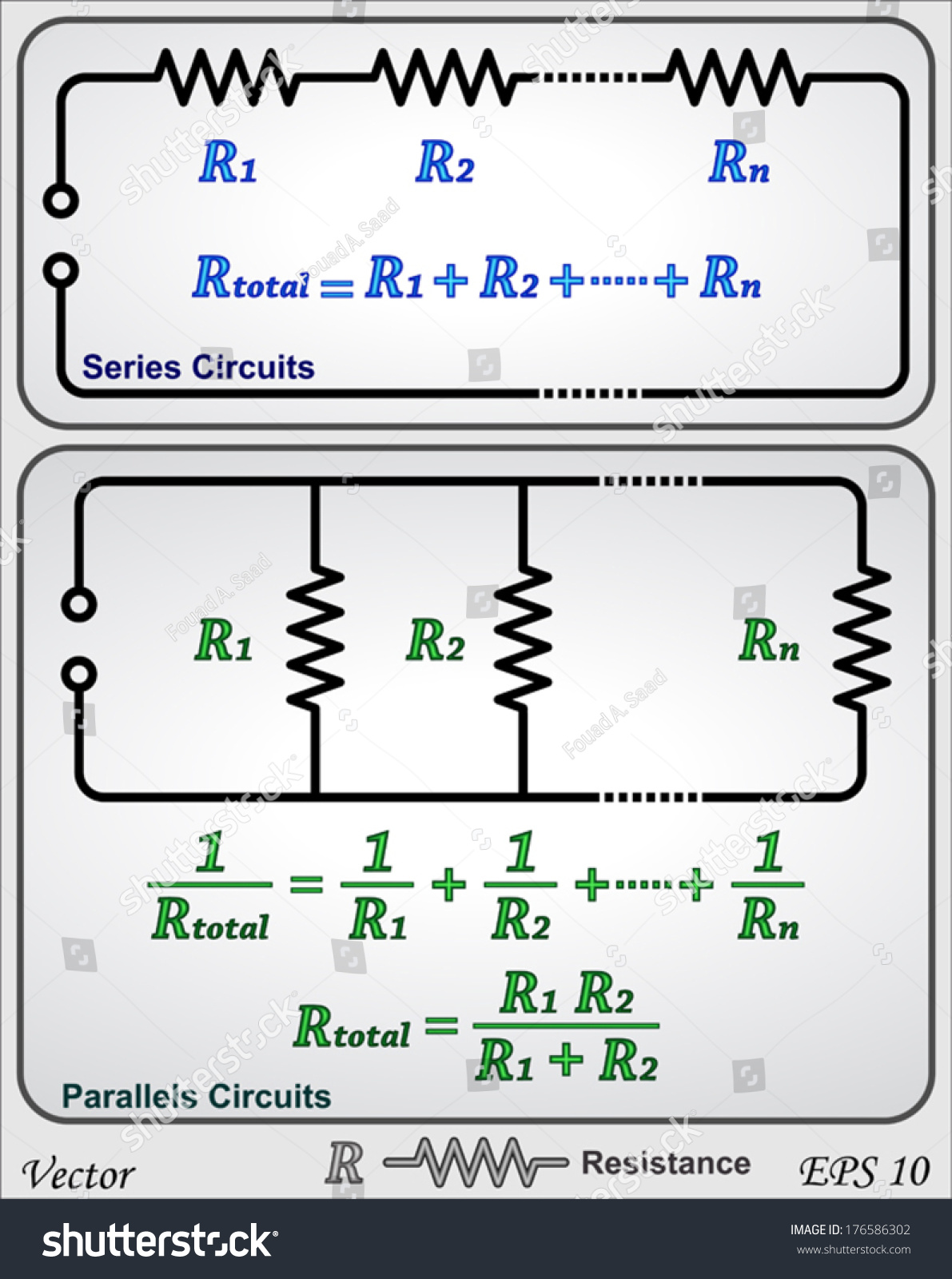 Series Parallel Circuits Resistor Stock Vector