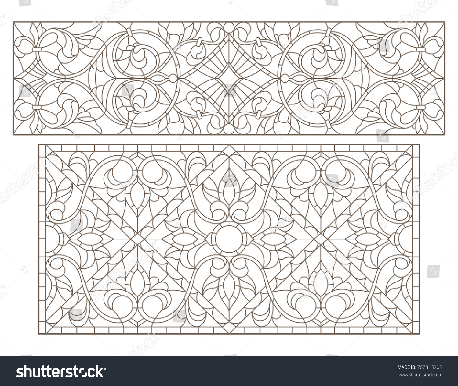 Stock Vector Set Contour Illustrations Of Stained Glass