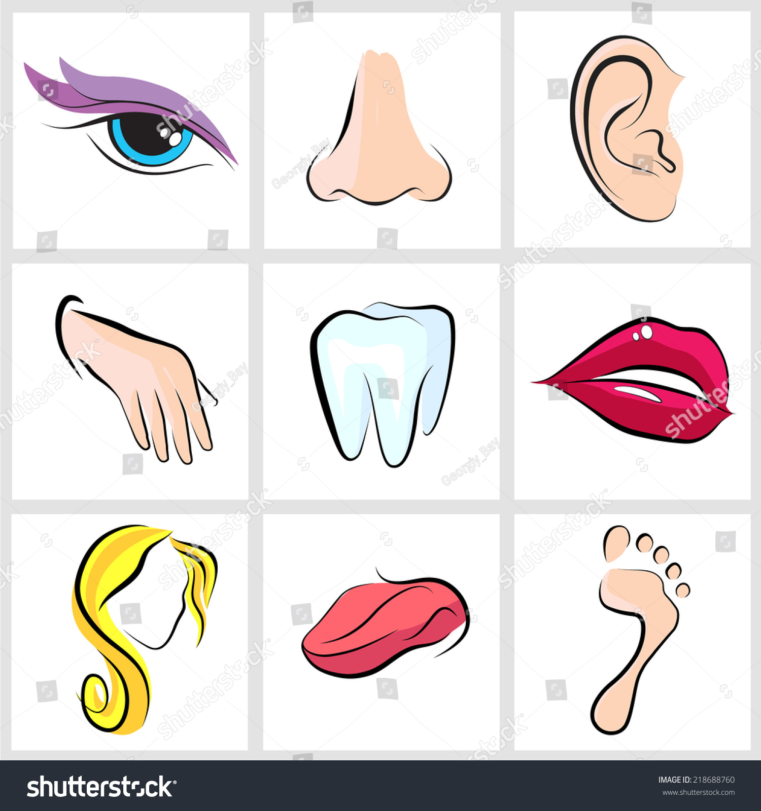 Set Icons With Flat Parts Of The Human Body Ear Nose Eyes