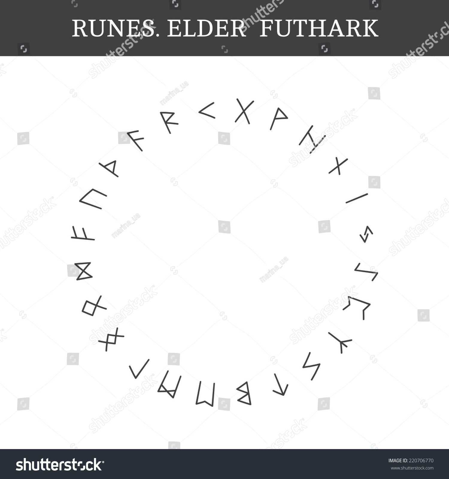 Set Ancient Old Norse Runes Elder Stock Vector Royalty Free 220706770