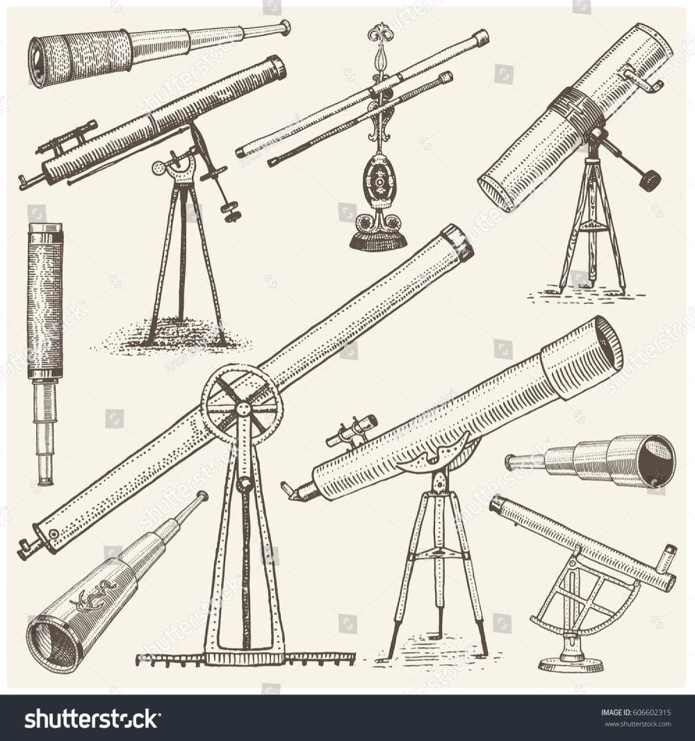 medium resolution of set of astronomical instruments telescopes oculars and binoculars quadrant sextant engraved in vintage