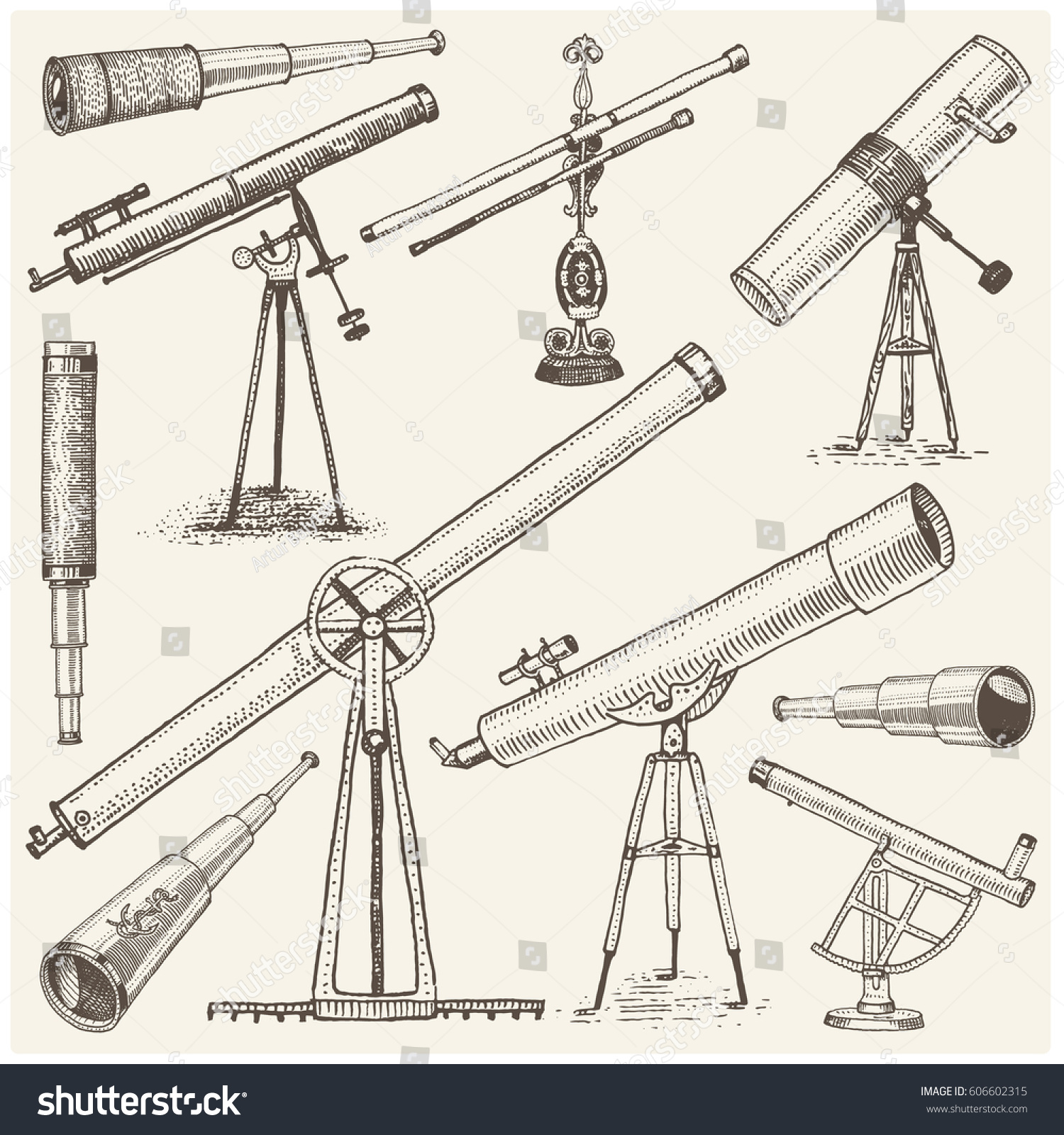 hight resolution of set of astronomical instruments telescopes oculars and binoculars quadrant sextant engraved in vintage