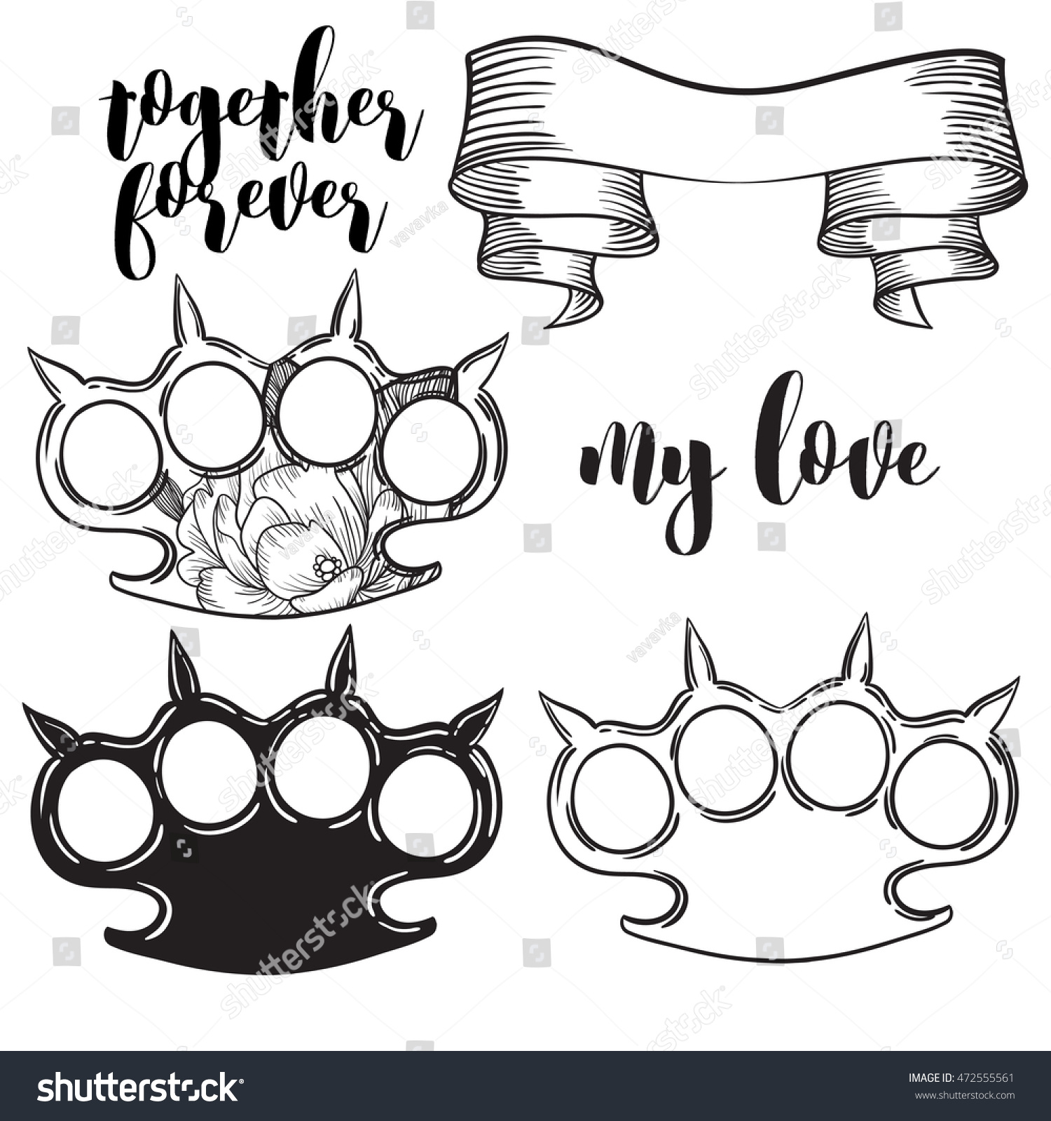 brass knuckles diagram afc neo wiring sr20det set old school tattoo stock vector royalty free of style with weapon illustration