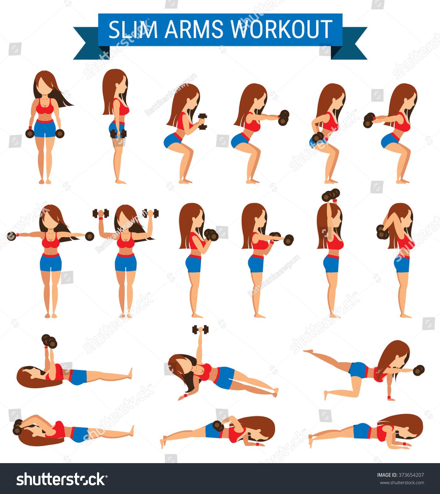 Set Cardio Exercise Slim Arms Workout Stock Vector 373654207 - Shutterstock