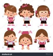 set cartoon characters girls
