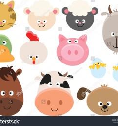 set of cartoon farm animal faces clipart  [ 1500 x 1287 Pixel ]